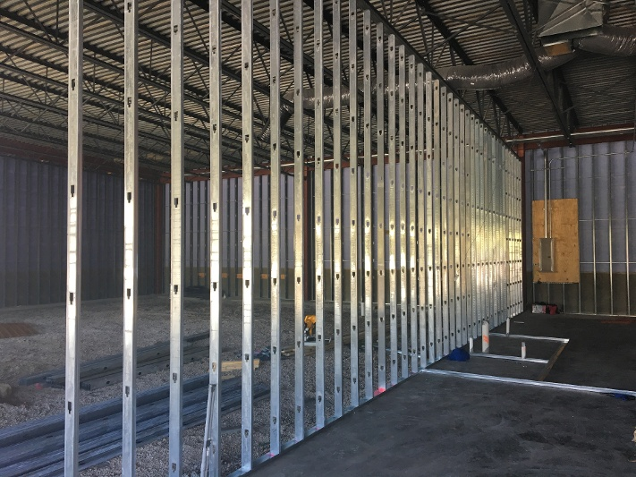 framing of a commercial construction buildout